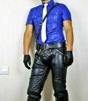 Men's Black Real Genuine Cow Hide Leather Pant Motorcycle Biker Jeans Trousers