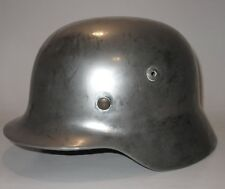Original WWII German Military M35 Stahlhelm Helmet and Liner Chrome Biker Paint