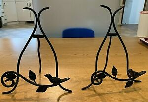 """Black Wrought Iron Plate Stand Display Holder Decorative Birds 8.5"""" Set of 3"""