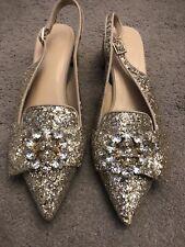 Gold Glitter Pointed Toed Slingbacks With Slight Heel (5 1/2)