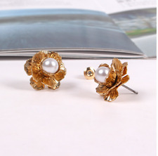 Baroque Style Sterling Silver Gold Plated Camellia Pearl Earrings Stud Earrings