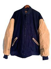 Game Sportswear Vtg Varsity Coat Jacket Mens Leather Wool Brown USA  6XL New