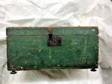 """22 3/4"""" Long Footed Blanket Chest in Green Paint Square Nails Circa 1860"""