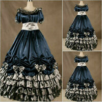 Lolita Victorian Gothic Blue Steampunk Party Dress Cosplay Costume Halloween
