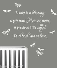 Nursery Wall Sticker Quote - A Baby Is A Blessing - Boy or Girl + Dragonflies