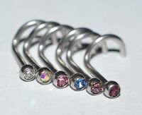 Sterile Set of 6 18g 316L Stainless Jeweled Bezel Set  (2mm Gem) Nose Screws