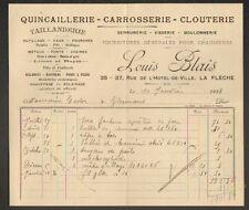 """LA FLECHE (72) QUINCAILLERIE TAILLANDERIE CLOUTERIE """"Louis BLAIS"""" en 1922"""