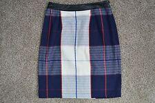 Merona Women's new Red White & Navy Blue Black Plaid Straight Pencil Skirt sz 8