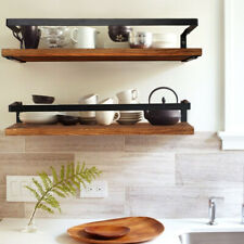 Rustic Floating Shelves Wall Mounted Wood Wall Storage Rack Display Kitchen Deco