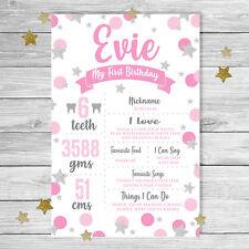 Pink & Silver Twinkle Twinkle Little Star Girl First Birthday Milestone Board