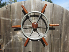 Authentic 22 inch Stainless Steel & Wood Boat Wheel -(XL5-2616)