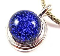 "DICHROIC Fused Glass TINY PENDANT Blue Sapphire Cobalt Navy 1/2"" Silver Plated"