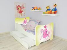 Children Bed Poney For Girls Kids bed with MATTRESS 140x70 Drawer + Small Pillow