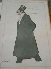 Original Print M. Henri Letellier ami de Brunau Varilla dessin de A. Barrère