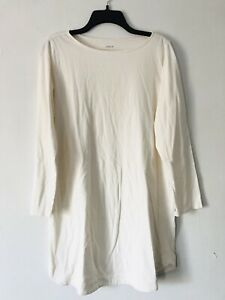 NEW PURE J. Jill S Petite Sleep Brushed Nightshirt L/S Gown Cotton Off-White
