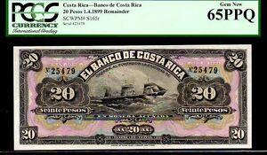 "COSTA RICA P S165r ""SAILING SHIPS"" 20 PESOS 1899 PCGS 65PPQ"