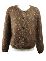 Paul et Duffier size M brown mohair boucle cardigan sweater vintage 90s