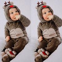 1PC Neonato Bebè BIMBO BAMBINO TUTINA CON CAPPUCCIO TUTA INTERA Body COMPLETI