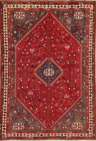 One of a Kind Antique Tribal Geometric Handmade Red Wool Area Rug 7'x10'