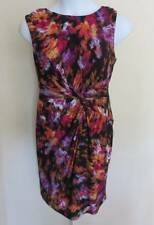 NEW 9&Co Sleeveless Wrap Look Stretchy Print Dress Ladies Sz 16 Burst Purple