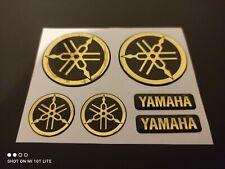 DOMED YAMAHA BIKE ROUNDAL STICKERS DECAL GOLD / BLACK FULL KIT FORKS / TANK
