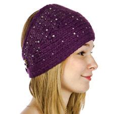 Star Studded Sparkle Sequins Knit Headband/Headwrap Women's Fall/Winter Purple