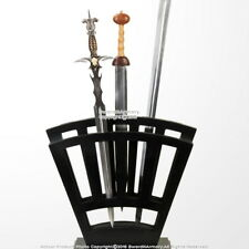 Medieval 9 Sword Vertical Display Stand Black Wooden Case Set