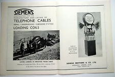 Siemens Telephone Cables Laying London To Brighton Trunk Cable 1939 Advert