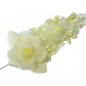 """3 yellow Silk Pearl & organza flower  Corsages 5""""x 2.5 with pearl pin"""