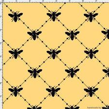 Loralie Fabric Bee Diamond Yellow black bees crisscross cotton sew quilt BTY
