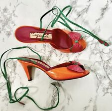 Vintage Glaceé Colorful Leather Heels w/Ankle Ties 6M