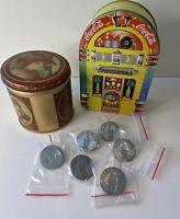 Coca Cola Lot: 6 Commemorative Pins 2010 2-Liter Contour Bottle, 2 Storage Tins
