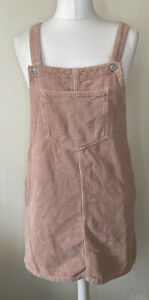Topshop Moto Dusky Pink Cord Dungaree Pinafore Dress Size 10 Pockets