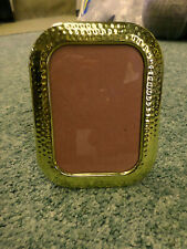 3057M Vtg 5x7 Frame Korea Hammered Brass Rounded Corners Lacquered Wall/Easel