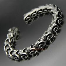 Vintage Stainless Steel Dragon Snake Skin Bone Link Chain Bracelet Bangle