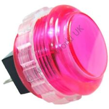 1 x Genuine Pink Seimitsu PS-14-KN Screw In Arcade Button - 30mm Mounting Hole