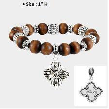 ST PATRICKS DAY Wood Stretch 4 Leaf Clover Link Good Luck Bracelet Irish Hope