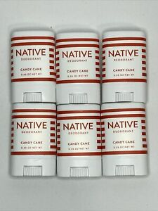 LOT of 6 NATIVE Peppermint Candy Cane Mini Deodorant .35 oz Travel Size NEW