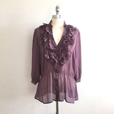 Cotton Express Missy Women Purple Sheer Blouse Shirt Stretch Waist XL