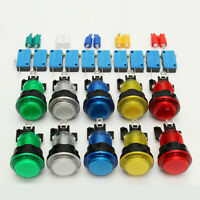 10 Pcs LED Illuminated Full Colors Switch buttons For Arcade DIY Parts JAMMA