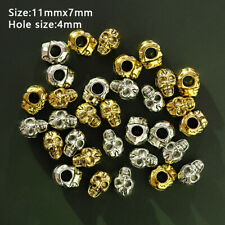 10Pcs Charm Skull Head Spacer Beads Metal Bracelets Necklace Jewelry Material