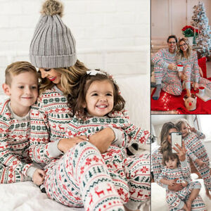 Family Matching Christmas Parent Child Adult Kids Pyjamas Nightwear PJs Xmas Set