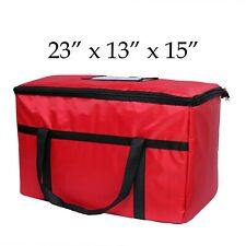 """Red Nylon Insulated Food Delivery Bag - 23"""" x 13"""" x 15"""" - Restaurant Linen Store"""