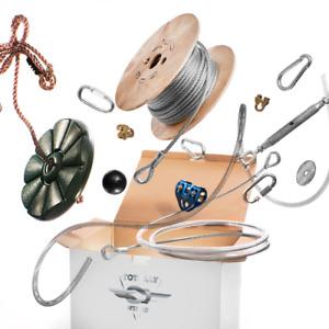 Zip Line Kit Choose Length 15 Mtr - 100 Mtr heavy duty 8mm Adults Zip Wire