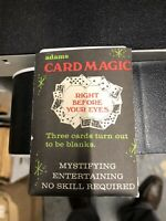 1967 S.S. ADAMS CARD MAGIC Vintage Magic Card Trick Right before your eyes trick