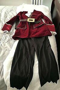 DISNEY STORE PETER PAN CAPTAIN HOOK HALLOWEEN COSTUME WIG & HAT BOYS SIZE 7/8