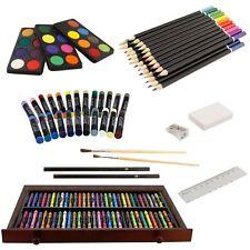US Art Supply 142 Piece Mega Art Creativity Set in Wood Box Set, Wood Desk Easel
