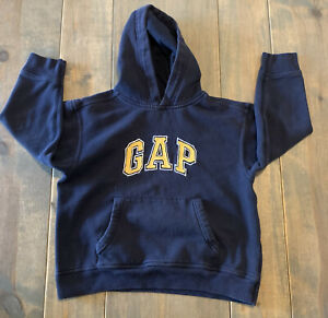 Gap Kids Navy Blue Yellow GAP Letters Long Sleeve Hoodie Sweatshirt Size: S