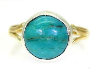 Victorian 1846 Matrix Turquoise 22ct Yellow Gold Ring size M ~ 6 1/4