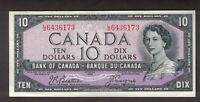 CANADA 1954 $10 BEATTIE COYNE MODIFIED PORTRAIT BANKNOTE SERIAL L/D6436173 EF